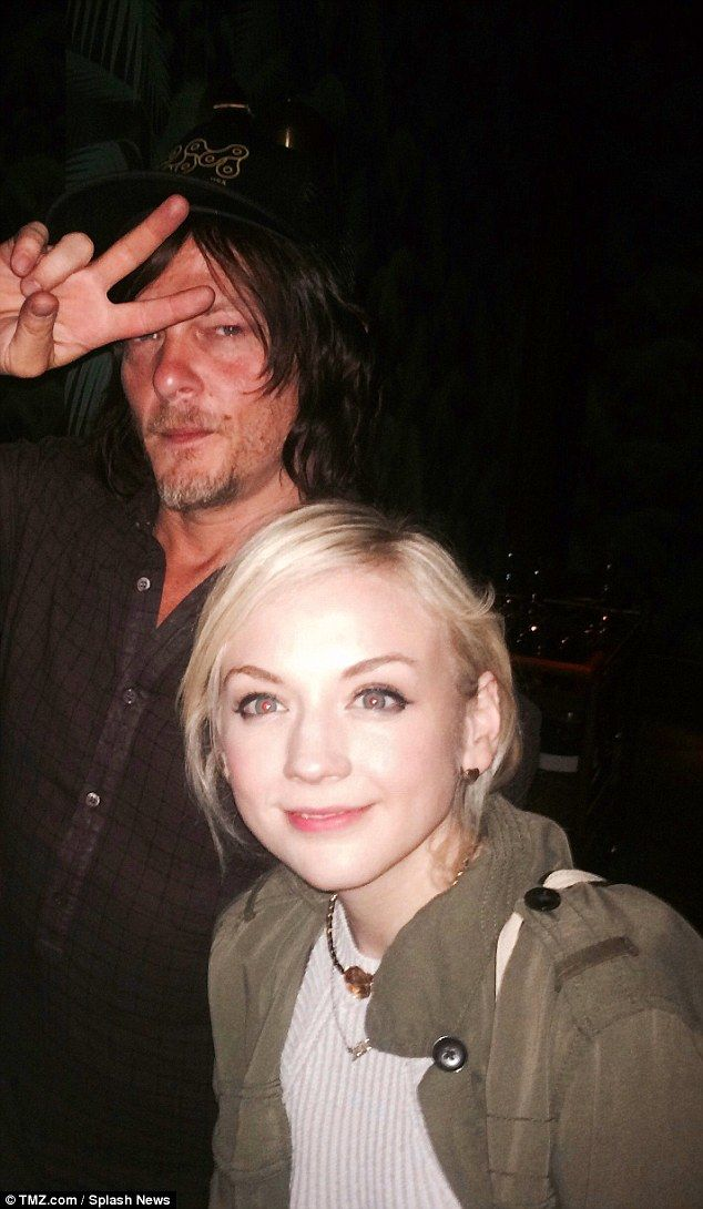 The Walking Dead's Norman Reedus pictured dining with Emily Kinney