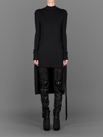 RICK OWENS LONG SLEEVED CALLA TOP WITH ELONGATED BACK PANEL