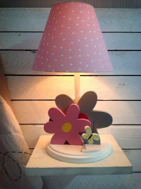 Flowers Lamp In Grey And Pink For Girl Room Decor