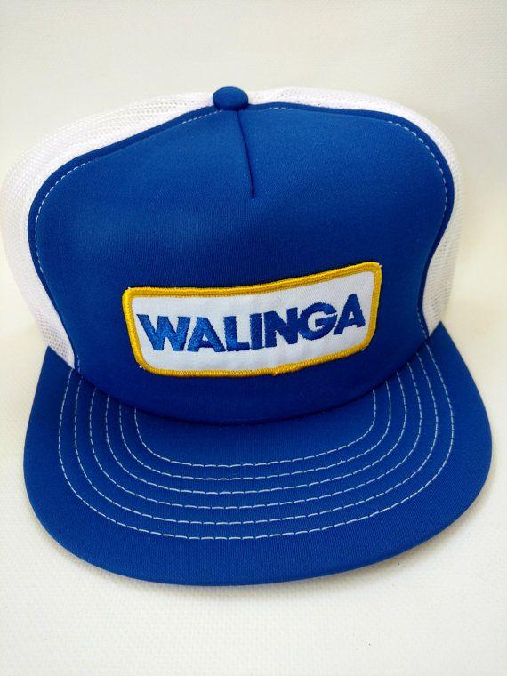 a1140ddb3cf03 Walinga Trucker Hat Retro Vintage 1980s Blue White Mesh Snapback ...