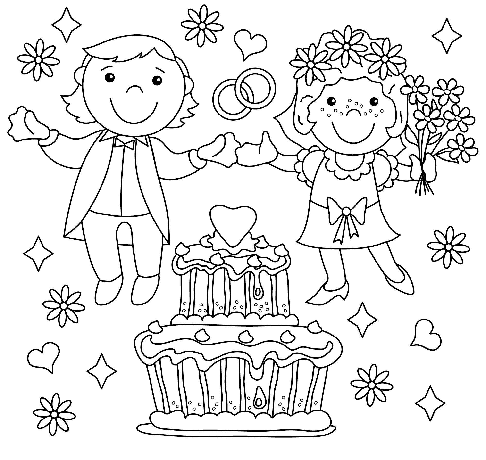 Malvorlagen F Kinder Hochzeit  Amorphi