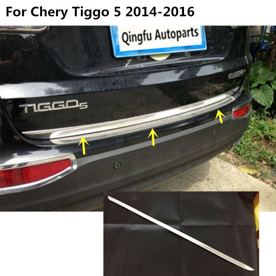 For Chery Tiggo 5 Tiggo5 2014 2015 2016 Car Bumper Sticks Body Stainless Steel Rear Door Tailgate Frame Plate Trim Lamp 1 Car Bumper Tailgate Replacement Parts