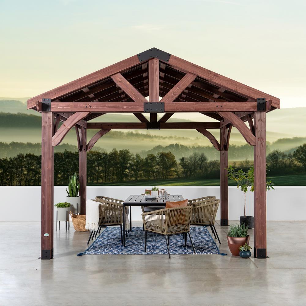 Backyard Discovery Arlington 12 ft. x 12 ft. Wooden Gazebo ... on Backyard Discovery Pavilion id=73300