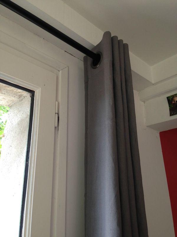 RIDEAUX EN 100  LIN GRIS SCHISTE RIDEAUX sur-mesure Pinterest - store occultant porte fenetre