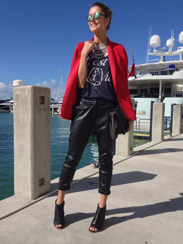 Martha Graeff of Around in Style wearing the C'est La Vie Muscle Tee, Westway Jacket and Wilson Trousers