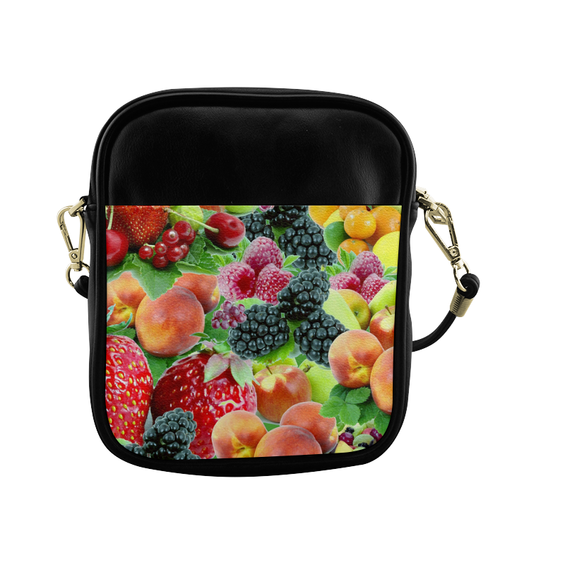 Fruit Strawberry Blackberry Raspberry Peach Sling Bag (Model 1627)
