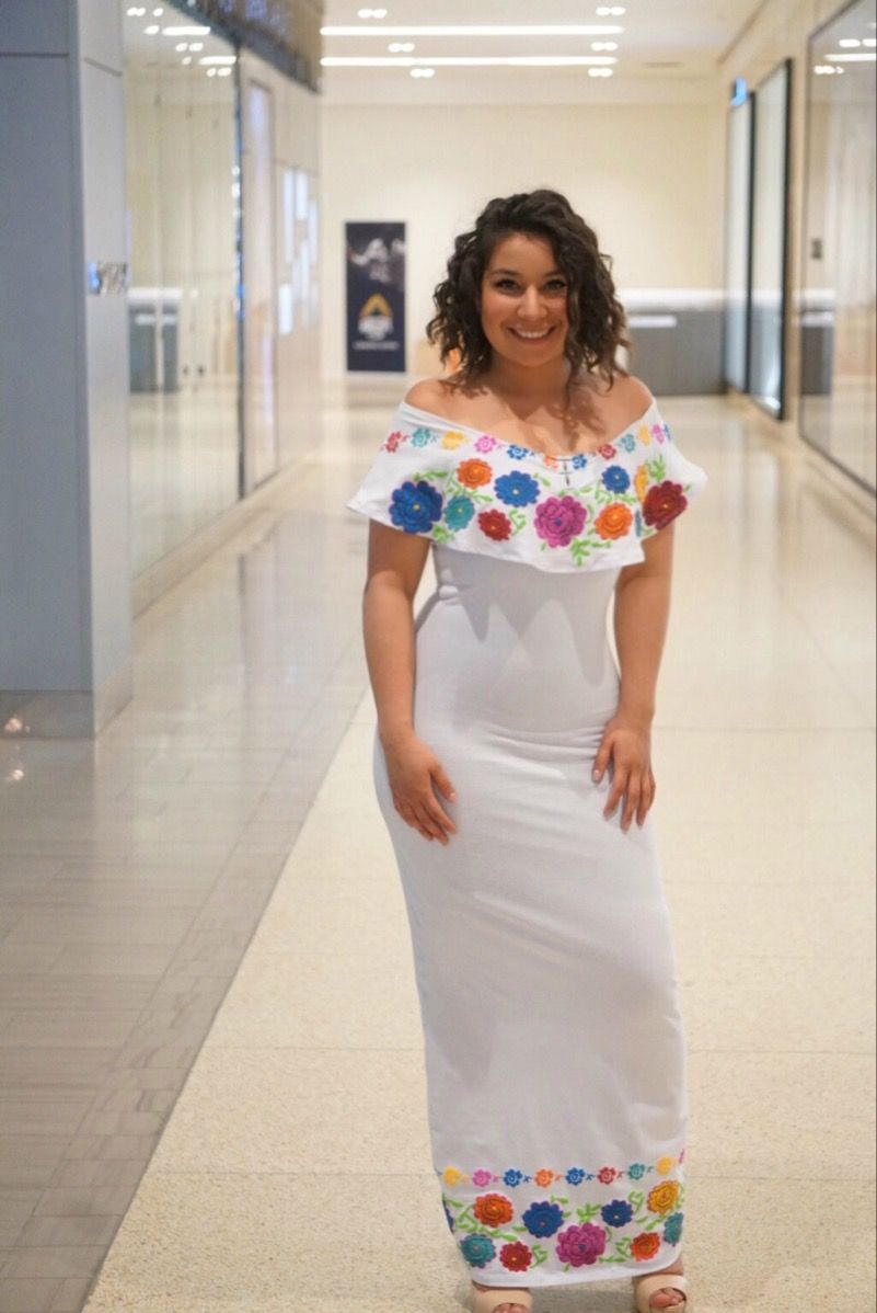 6fa46b5d09 Vestido estampado Bordado Chiapaneco al tobillo 93% algodon 7% spandex  marca Know Mexico