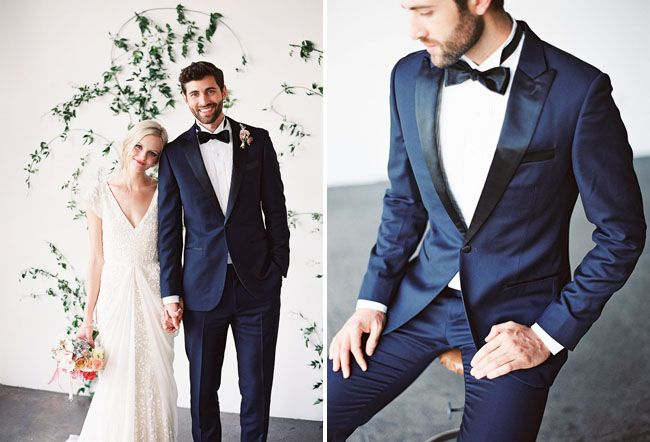 Modern Organic Wedding Inspiration | Blue tux, Navy blue and Navy