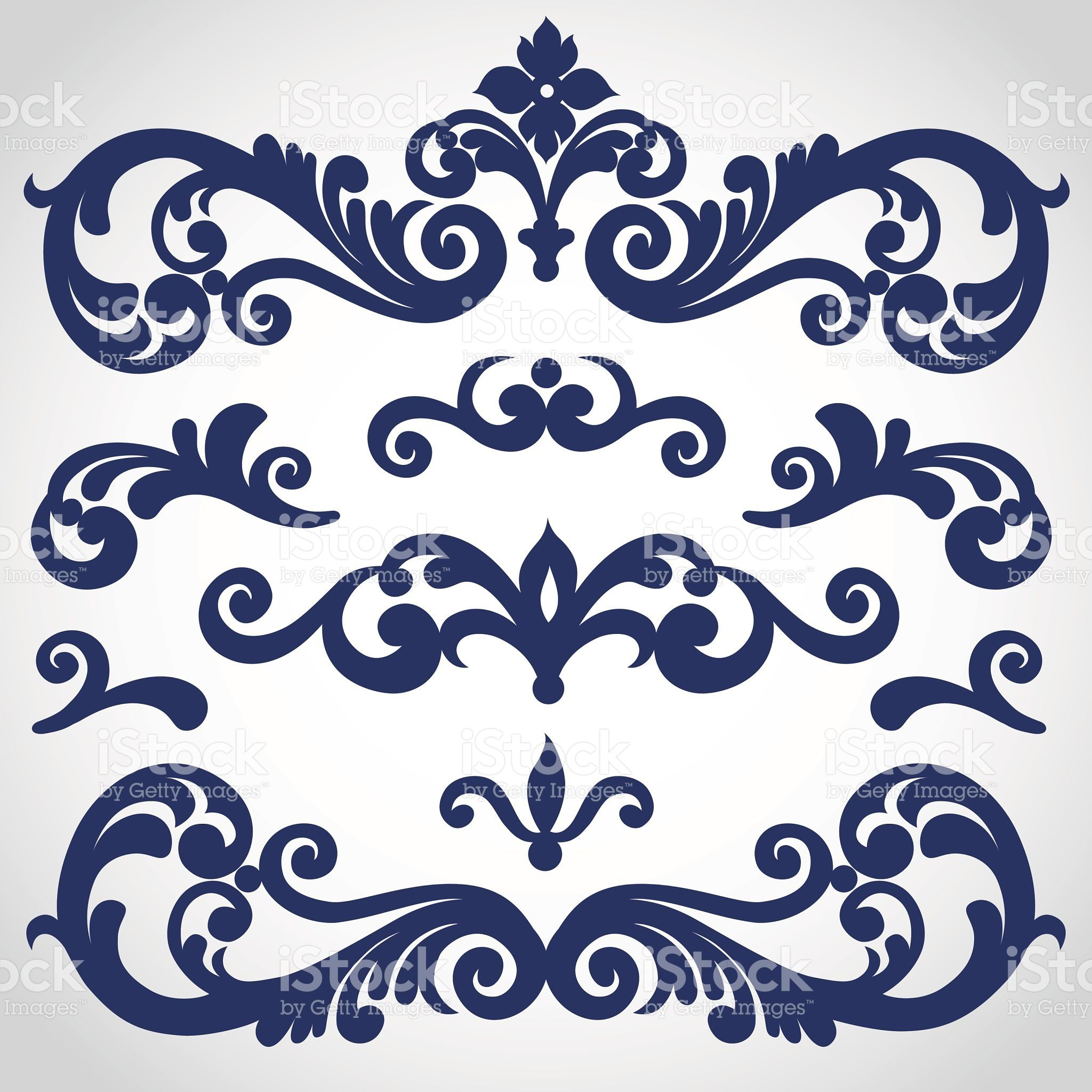 Vector Set With Ornament In Victorian Style Ornate Elements For