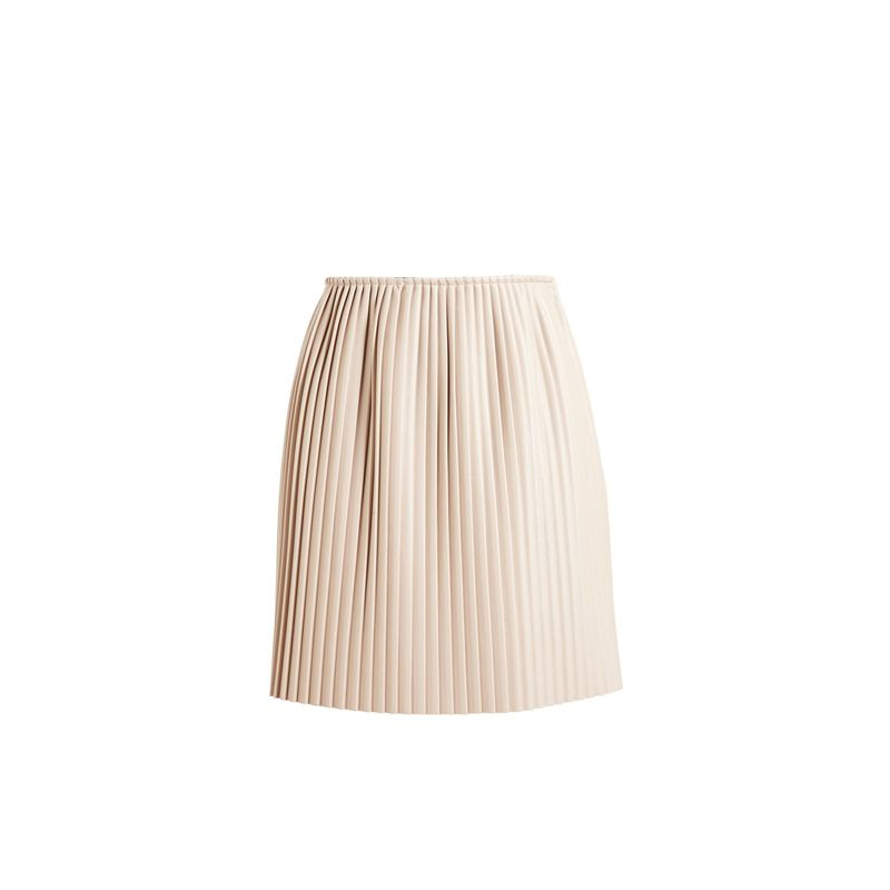 Blush Truly a seasonless separate, this blush skirt works as well with a chunky cable knit sweater and boots as it does with a ribbed tank and sandals.  Pleated Eco Leather Skirt, MSGM $148