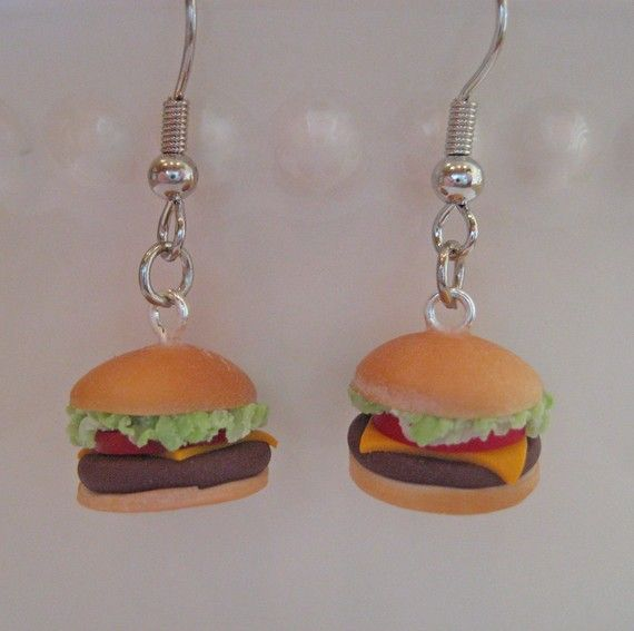 Cheeseburger and French Fry Earrings - Food Jewelry - Mix ...