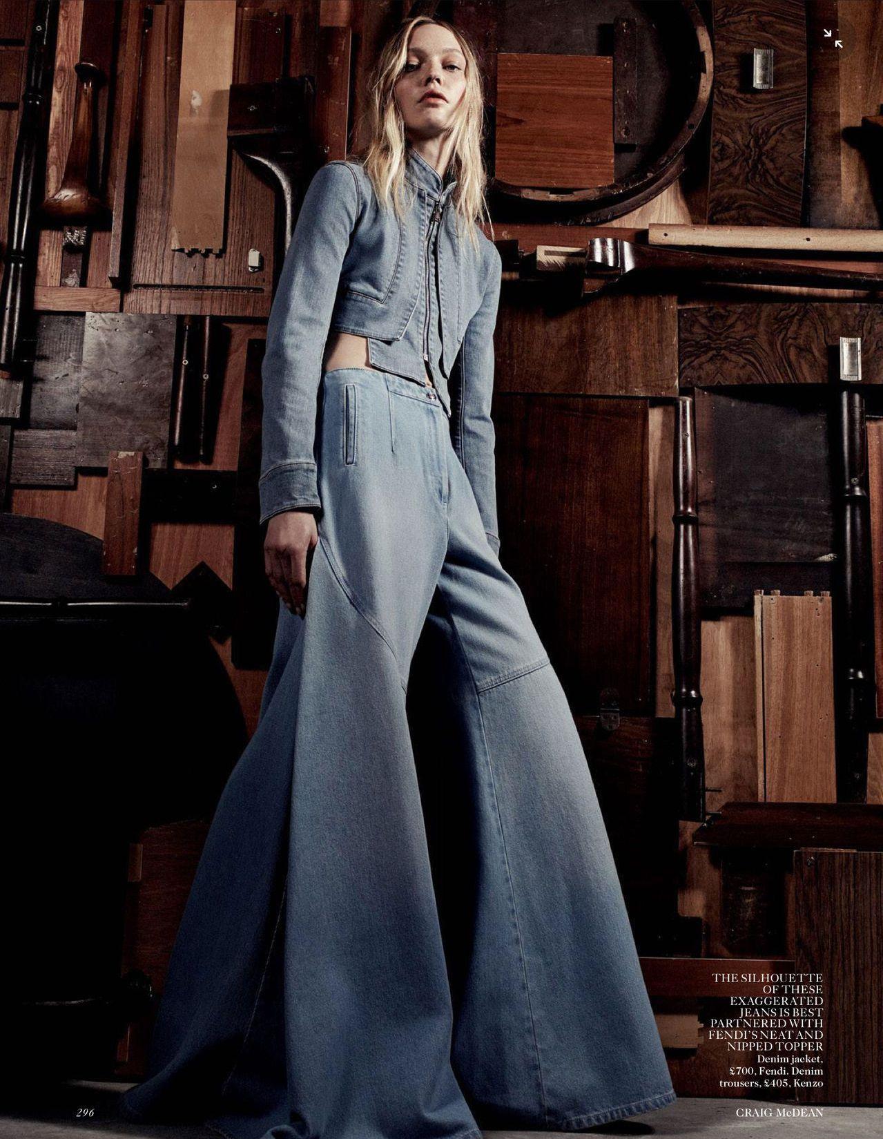 Designer Denim: Fendi Denim Jacket | Kenzo Denim Pants | Sasha Pivovarova by Craig McDean for Vogue UK, March 2015