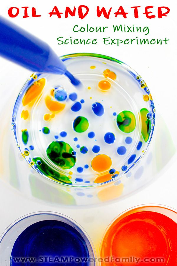 Why don't oil and water mix? It's a question kids love to explore! This easy experiment using simple supplies is a fun and colourful way to explore this science. The magic of colour mixing gives this experiment a special twist and wow factor. Plus the colour mixing provides greater understanding of the polarity differences between water and oil and how it affects their behaviour when they are mixed. #OilandWater #Science #WaterExperiment #Experiment #Elementary