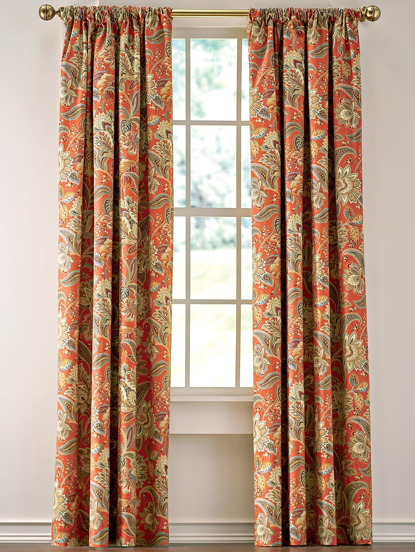 Jacobean Paisley Lined Rod Pocket Curtains