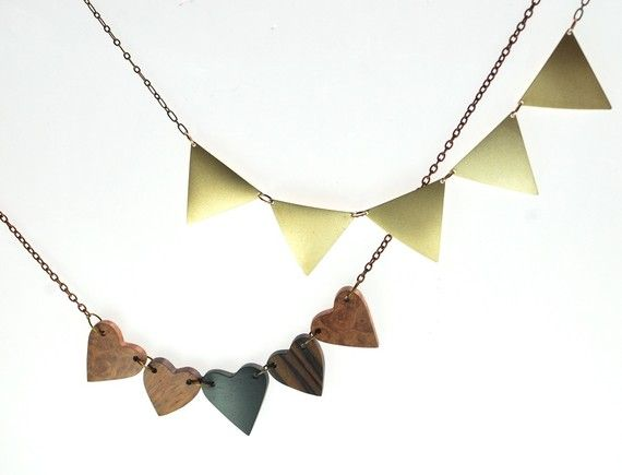 Geometric Trangle Modern Necklace by ThePolkadotMagpie on Etsy, $42.00