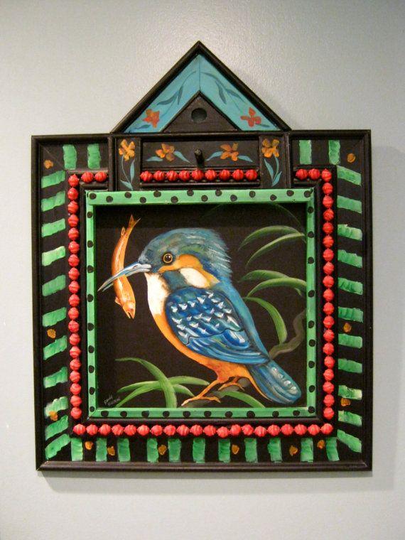 kingfisher bird art sandy mastroni acrylic on board gallery art