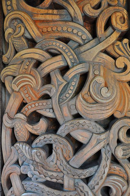 Norse wood carving detail viking structures and
