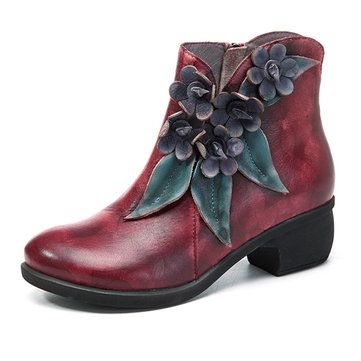 Suede Leather Women's Round Toe Chunky Heel Flowers Decorated Handmade Retro Ankle Boots