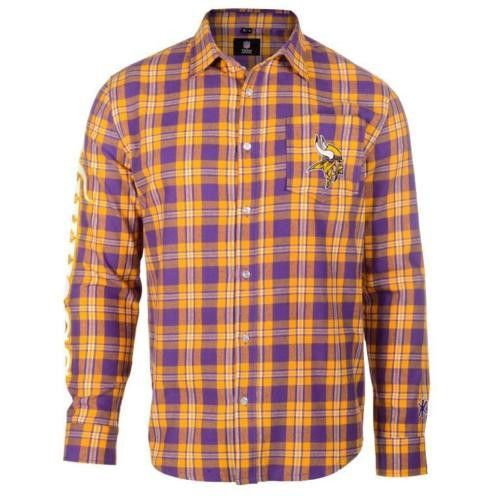 c93826f2723 Minnesota Vikings Men s Flannel Long Sleeve Wordmark Button Shirt ...