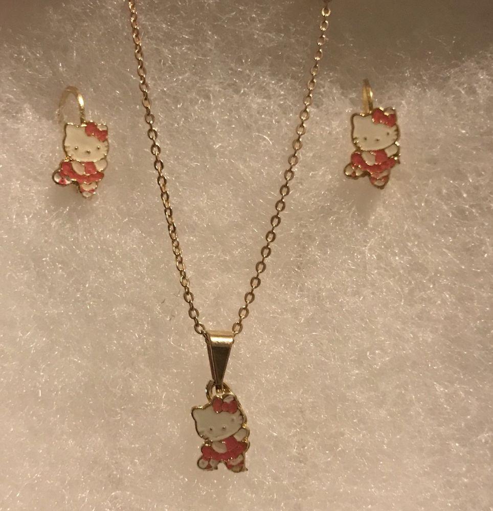 119435746 HELLO KITTY BALLERINA Pendant & Earring Set 14K Gold Plated 19