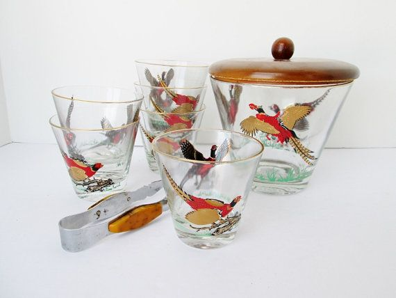 Hazel Atlas Pheasant Cocktail Glass Set Ice Bucket by Collectique, $29.00