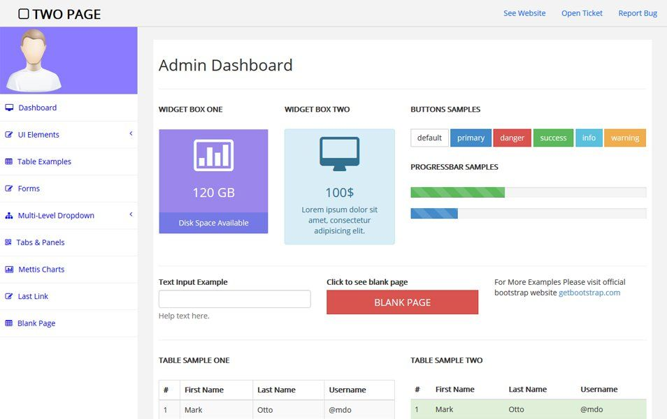 two page free bootstrap admin template web app design