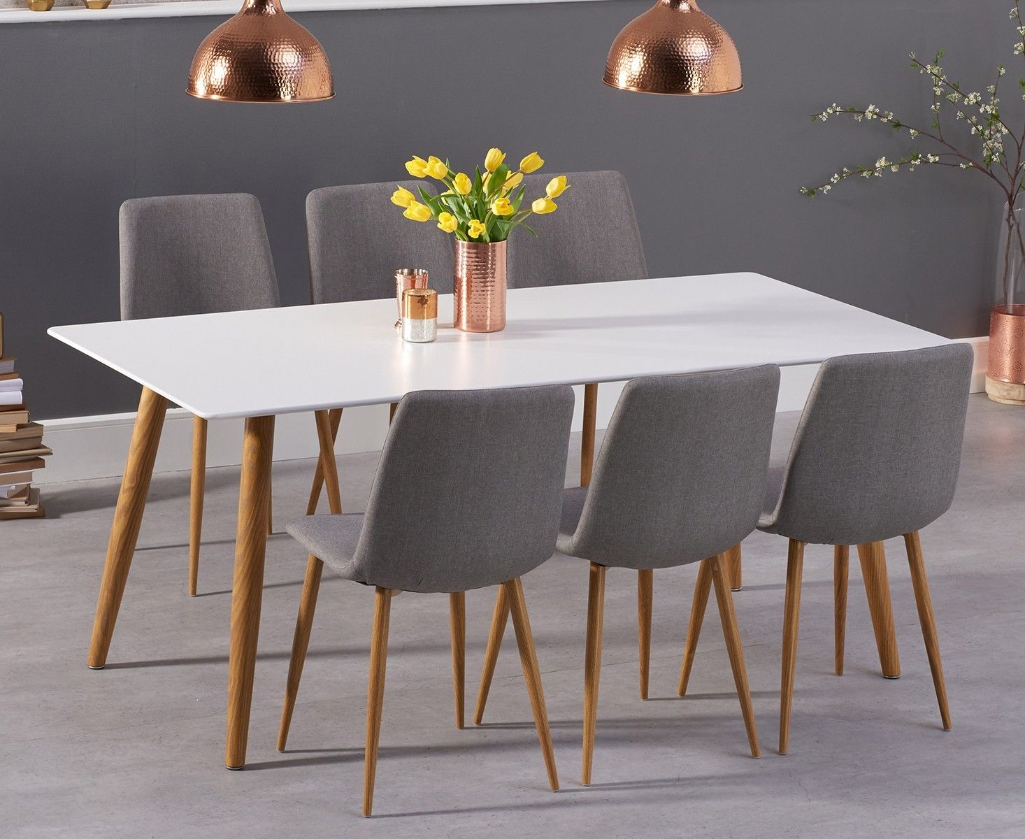 Malmo 180cm Matt White Dining Table With Helsinki Fabric Wooden