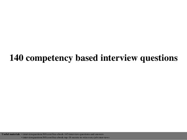 140 competency based interview questions | Common Interview