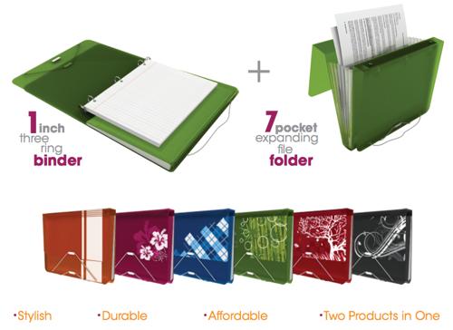duo binder 1 inch 3 ring binder and 7 pocket expanding file folder