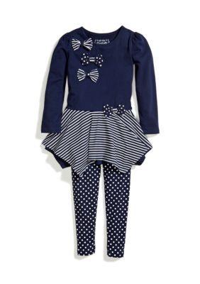 Flapdoodles  2-Piece Nautical Handkerchief Dress and Legging Set Toddler Girls