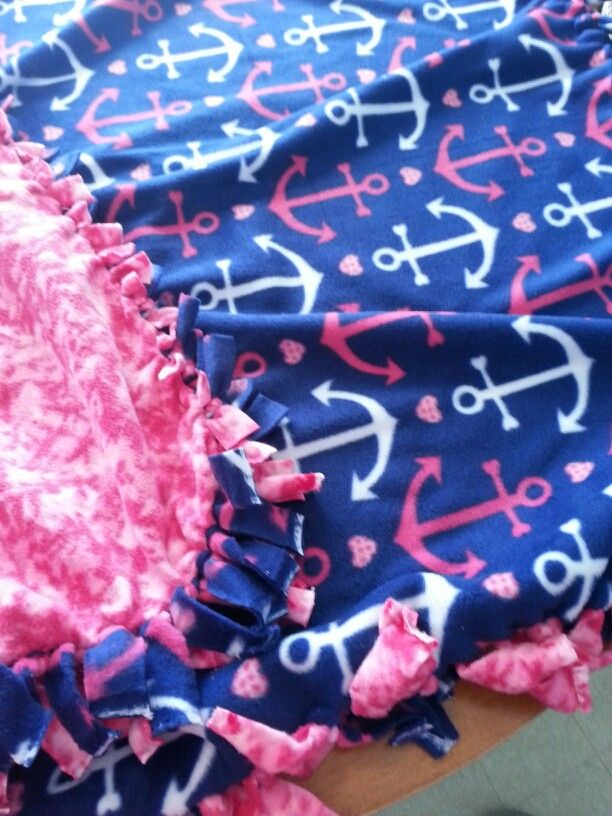 My Tied Fleece Blanket Pink Camo Anchors Knot Blanket