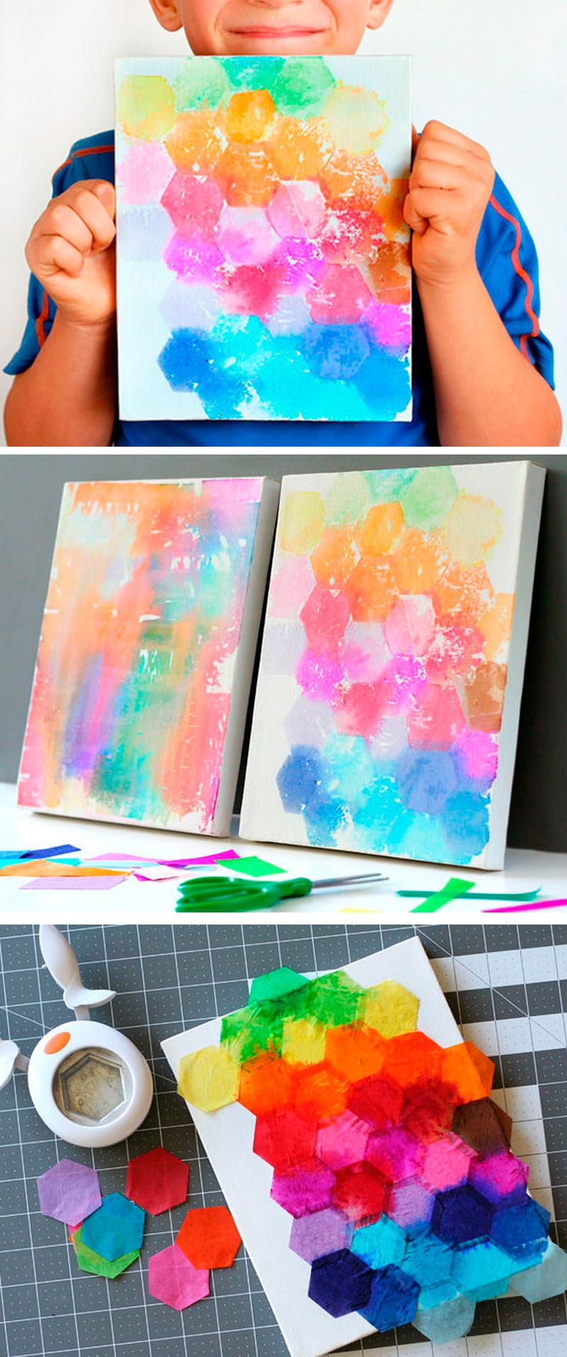 Try This Fun Art Project Idea For Kids Just Punch Shapes From Tissue Paper Paint With Water And Reveal The Finished Canvas So Easy Cute