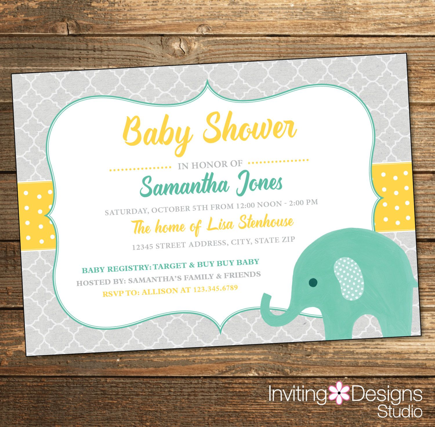 Elephant Baby Shower Invitation, Watercolor, Gender Neutral, Mint, Mint Green,