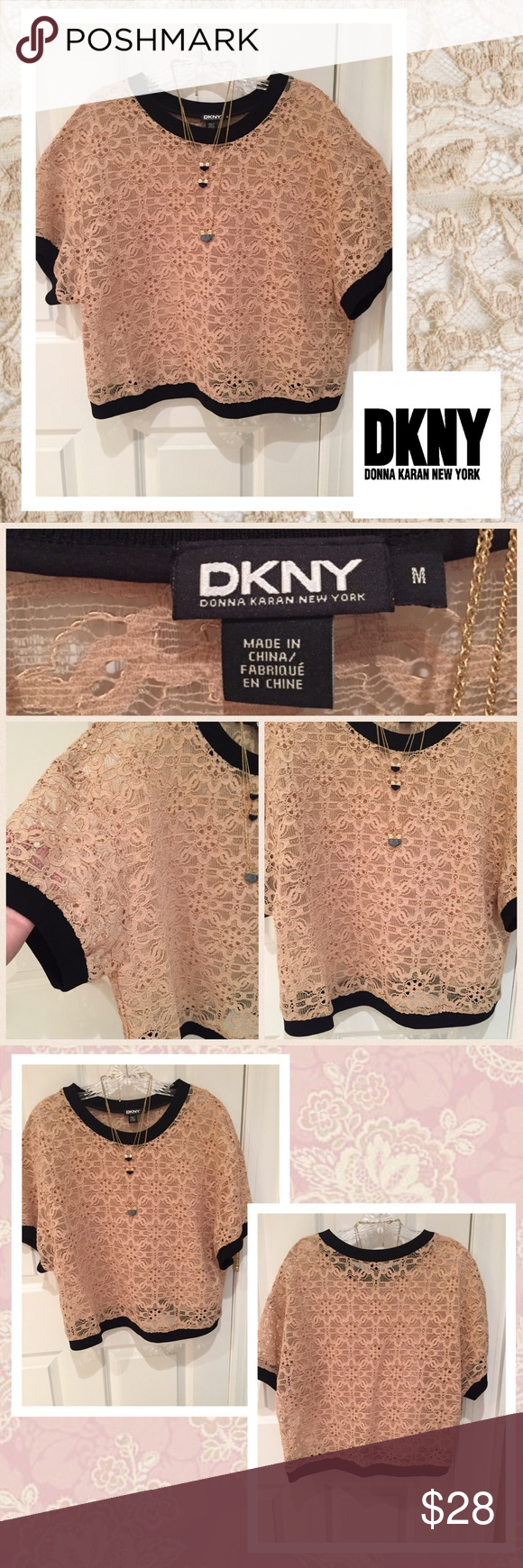 🌼DKNY illusion lace top🌼 Beige lace illusion top. Has a boxy look. Needs a tank underneath. Black banded on bottom, neckline, and at end of sleeves. Excellent condition. DKNY Tops Tees - Short Sleeve