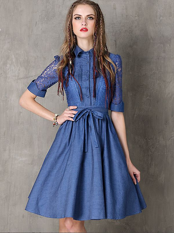 562a2847bf Vintage Lace Stitching Bowknot Denim Skater Dress  Size  S