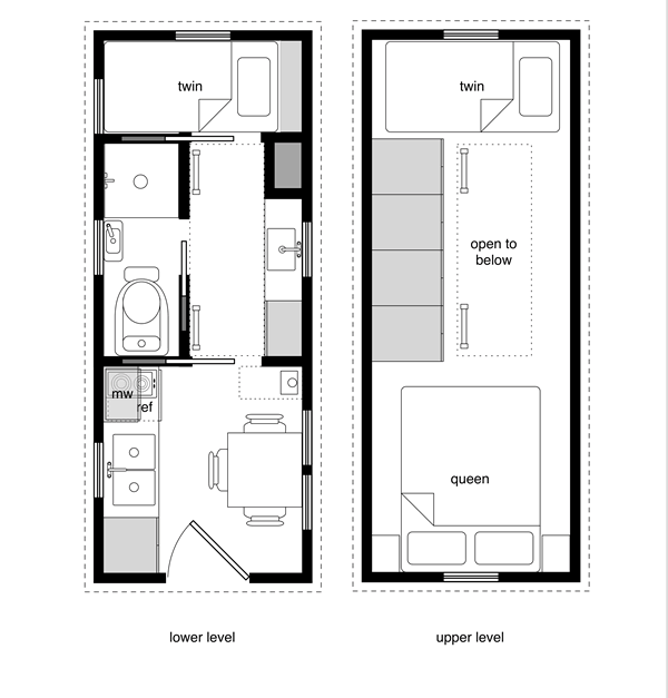 a sample from the book tiny house floor plans 8x20 tiny house with lower level - Tiny House Plans