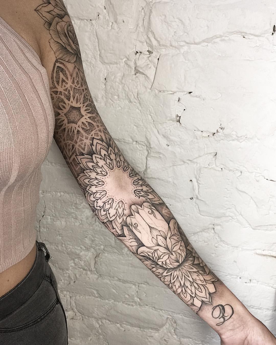 Sleeve Is Done Sum Ttt Dotwork Linework Flowertattoo Lotustattoo Lotus Mandalatattoo Mandala Blackwor Tattoos Sleeve Tattoos For Women Boho Tattoos