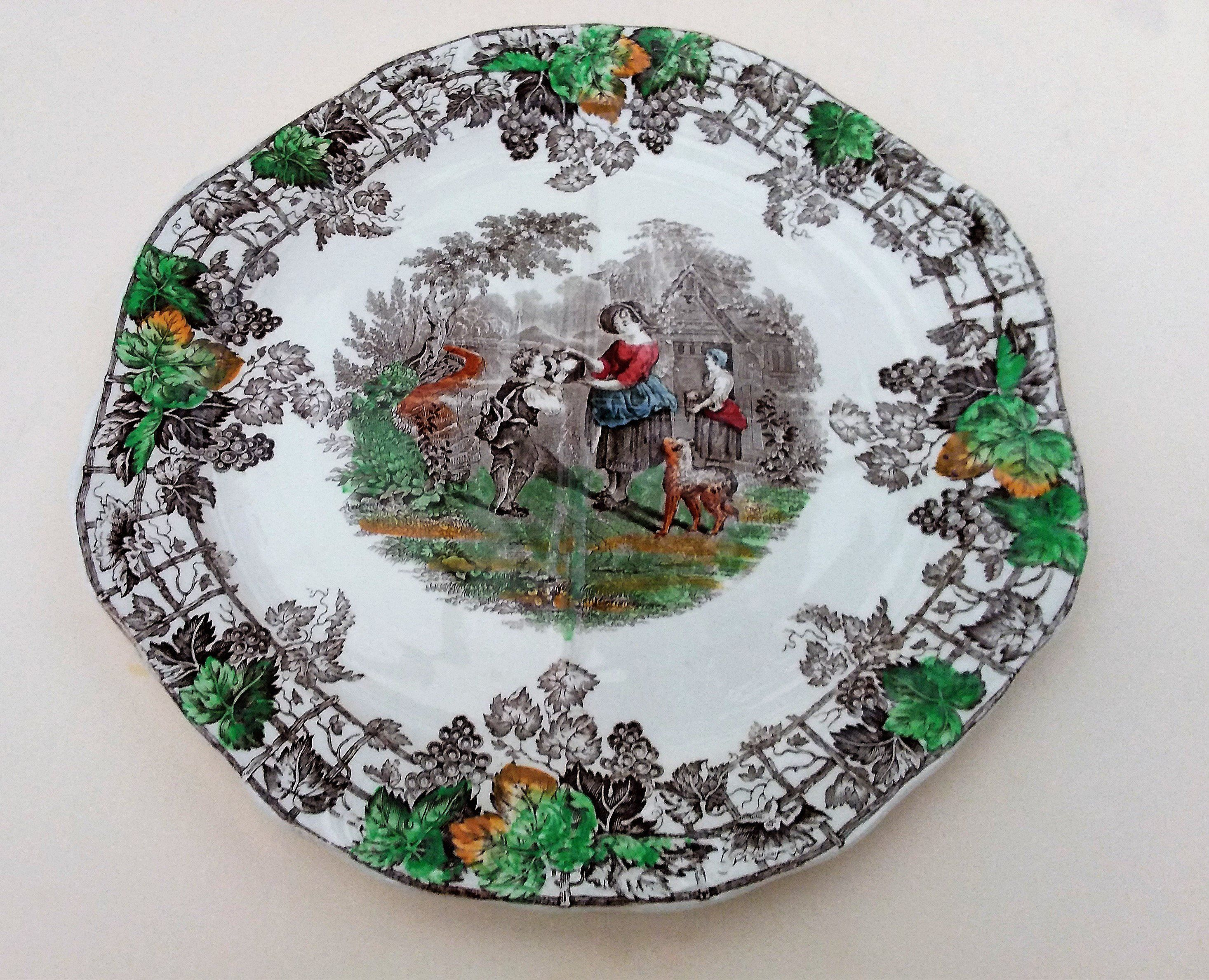 Christmas Platter Plates.Copeland Spode Byron Sectional 10 Plate Series 2 In Green