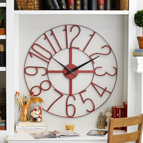Distressed Red Open Face Clock 39 5 In Crown Wall Decor Rustic