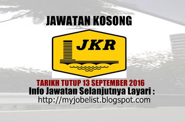 Jawatan Kosong di Jabatan Kerja Raya (JKR) - 13 September 2016  Jawatan kosong kerajaan terkini di Jabatan Kerja Raya (JKR) Sarawak September 2016. Permohonan adalah dipelawa daripada warganegara Malaysia yang berkelayakan untuk mengisi kekosongan jawatan kosong terkini di Jabatan Kerja Raya (JKR) Sarawak sebagai :1. ENGINEER Tarikh tutup permohonan 13 September 2016 Lokasi : Sarawak Sektor : Kerajaan  Interested candidiates are invited to submit their applications together with their…