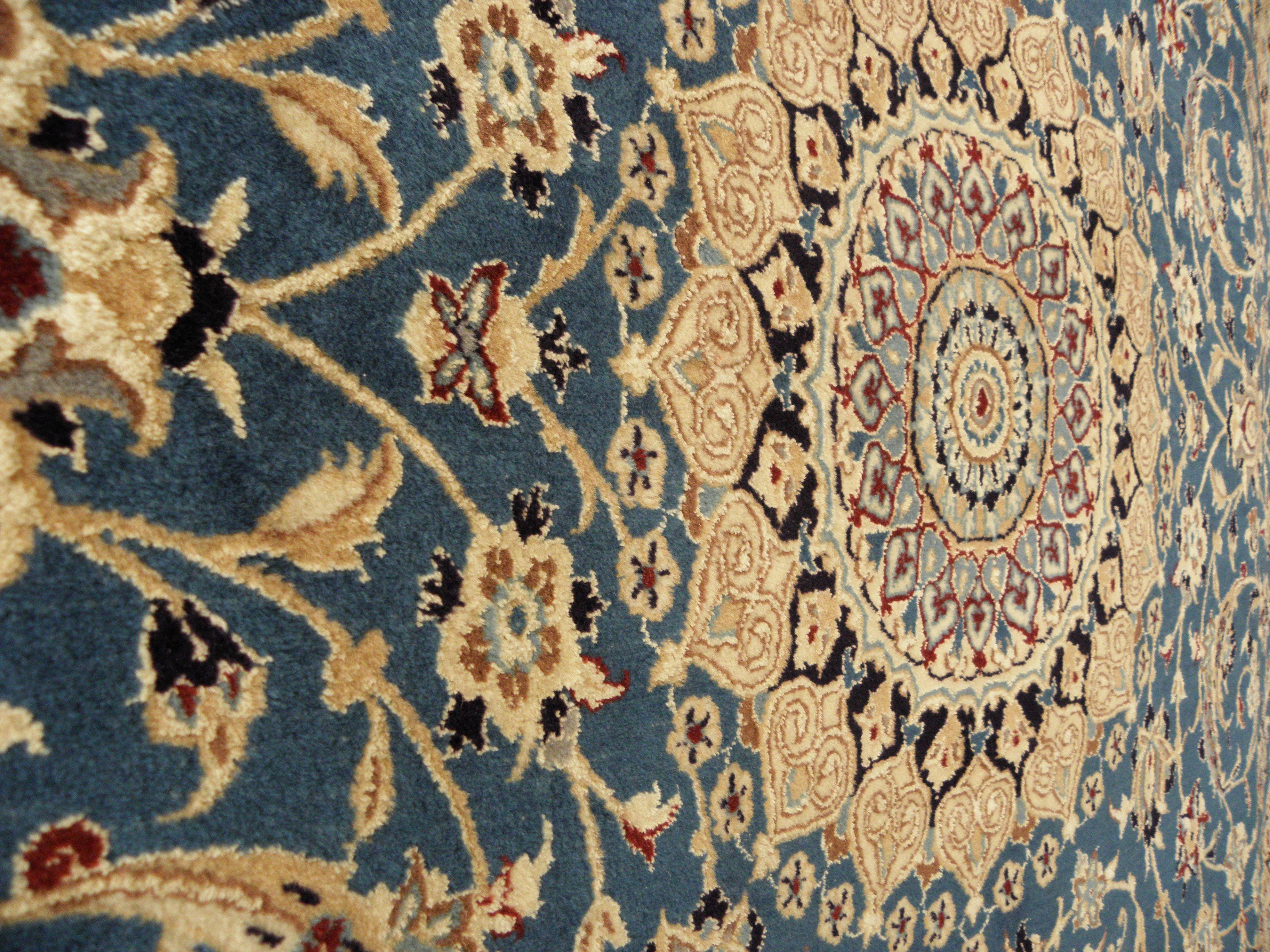 Tappeto Nain extra fine persiano 9La* annodato a mano. Ordito in cotone, pelo in lana e seta.