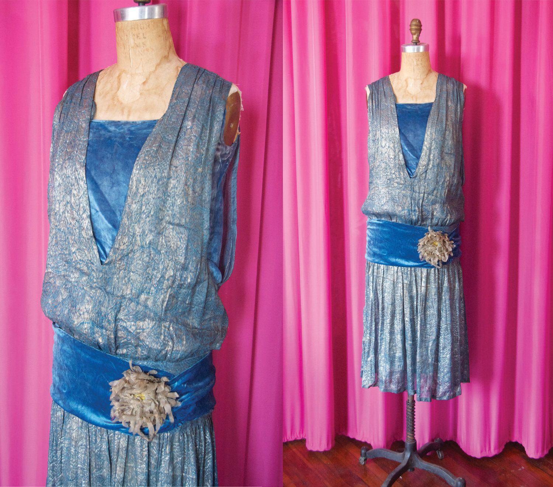 Vintage us blue velvet and jaquard lamé flapper dress