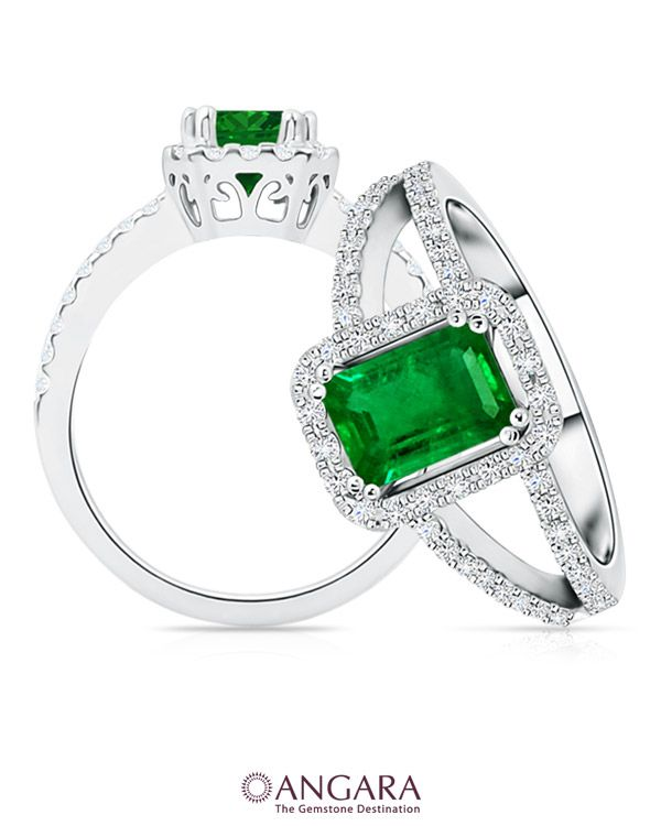 Angara Emerald Diamond Split Shank Ring in 14k White Gold CdolegU6