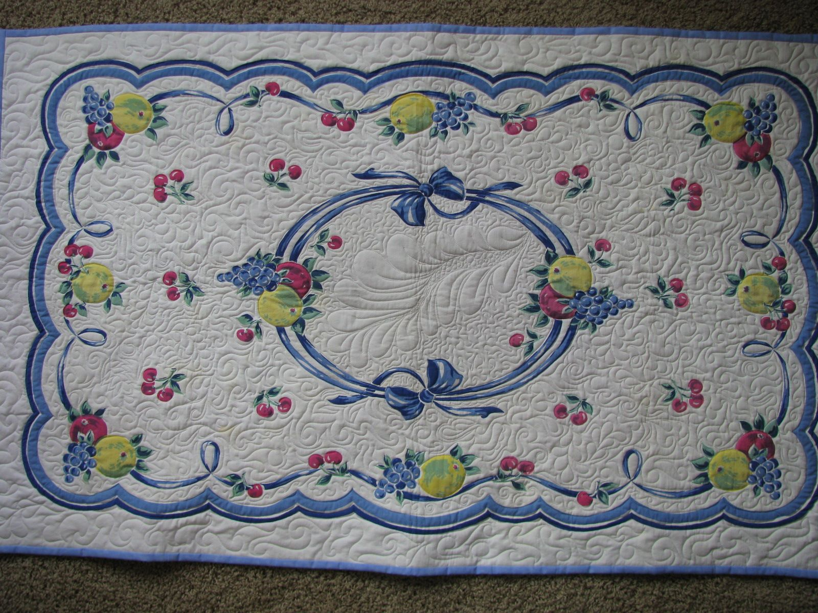 Wonderful Quilting On A Vintage Tablecloth