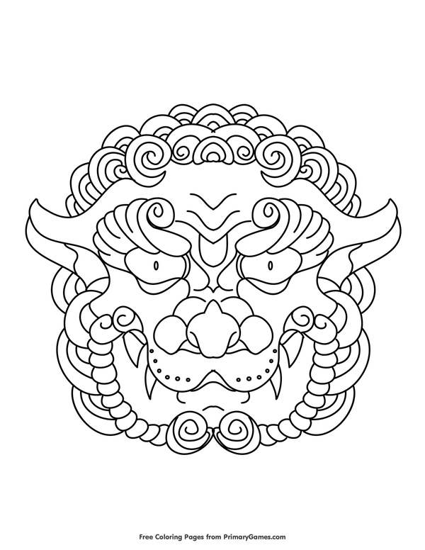 chinese lion head coloring page • free printable ebook