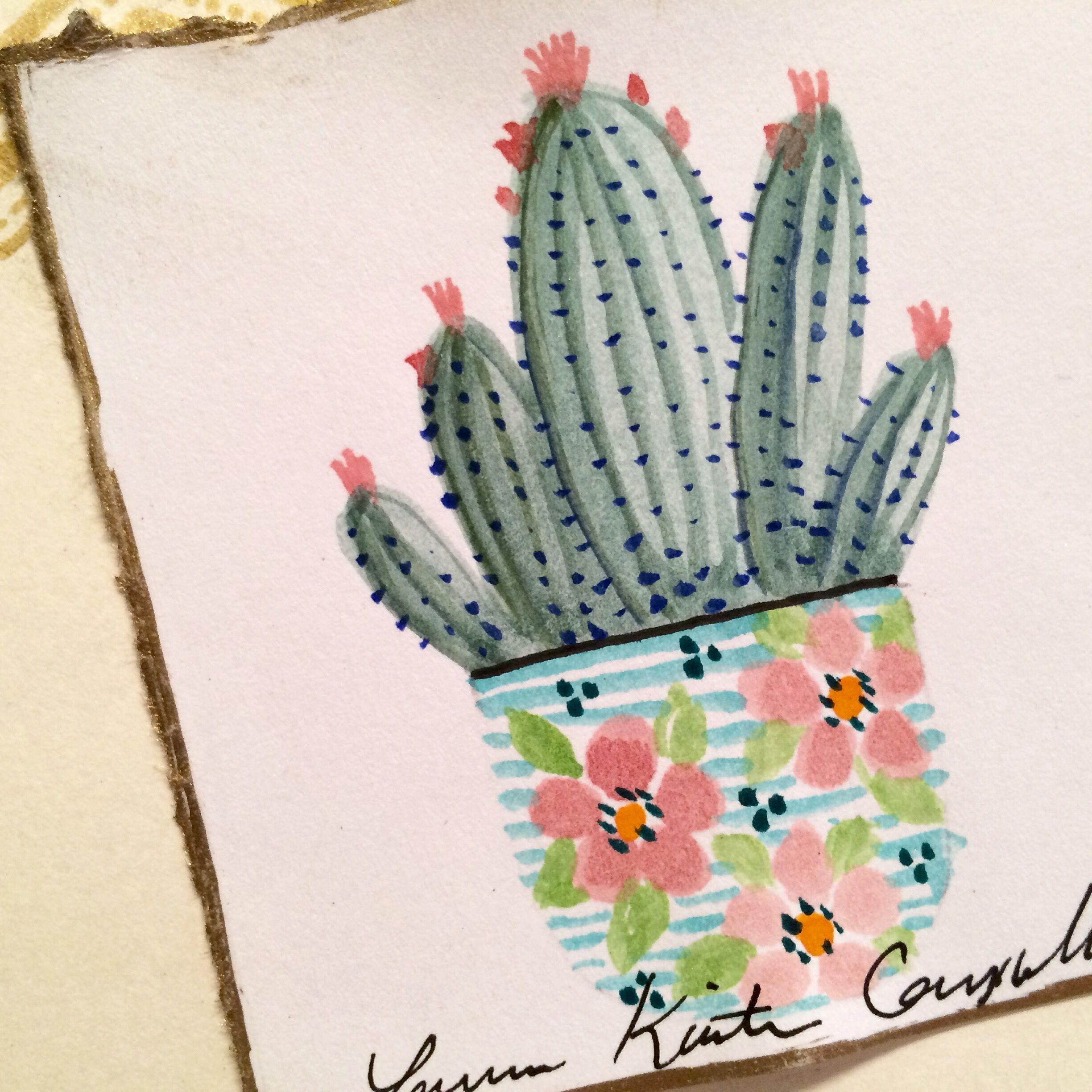 Mini watercolor cactus by Laura Kirste Campbell