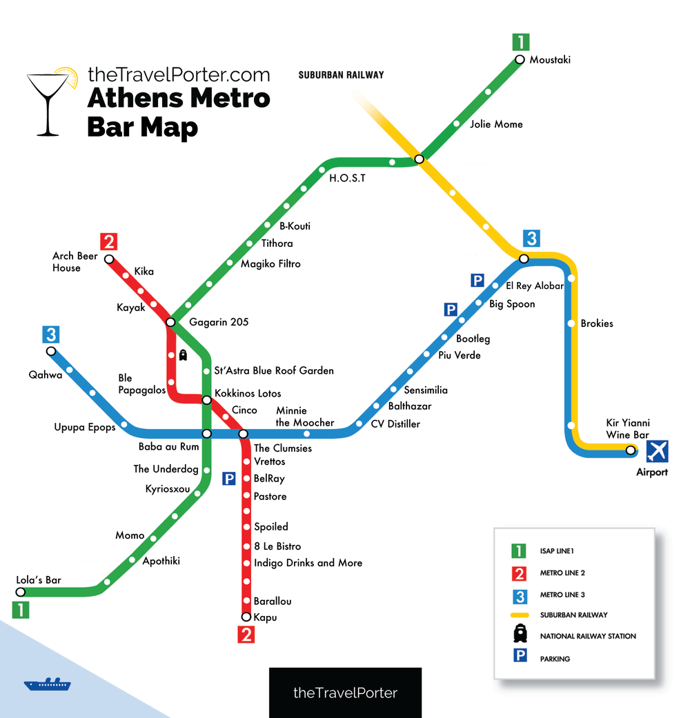 The Ultimate Bar Crawl Athens FirstEver Metro Bar Map Athens