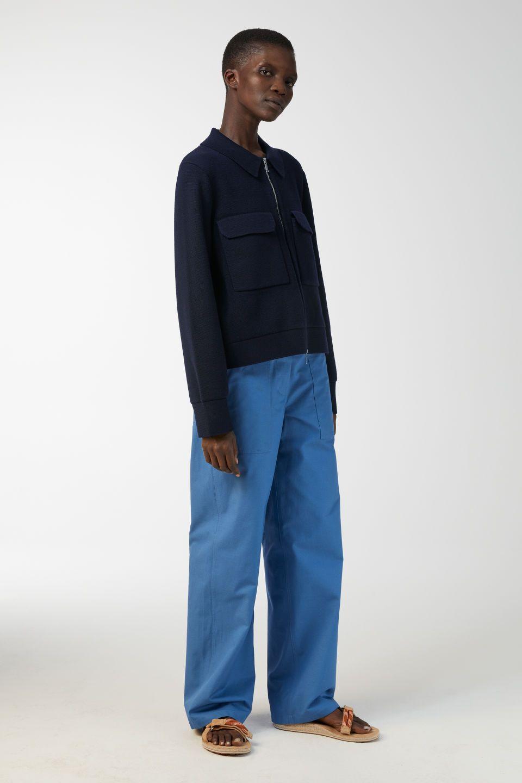 Merino Box Jacket Dark Blue Knitwear Arket De Knitwear Women Fashion Knitwear