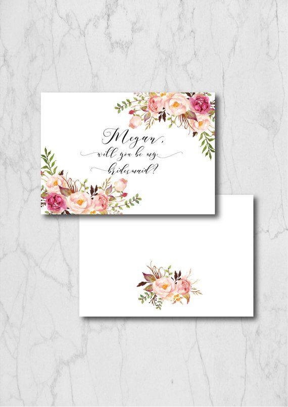 Boho Chic Bridesmaid Card Template Will You Be My Bridesmaid Card Printable Persona Floral Wedding Stationary Be My Bridesmaid Cards Bridesmaids Personalized