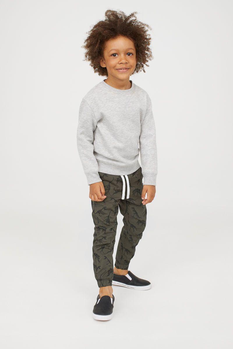Pantalon De Algodon Sin Cierre Verde Caqui Oscuro Estampado Ninos H M Co Chaussure Enfant Beaute Enfant